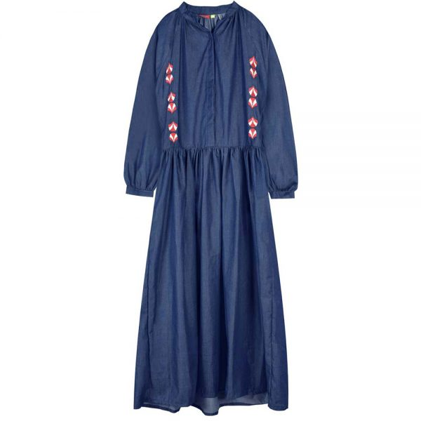 dress long embroidery jean