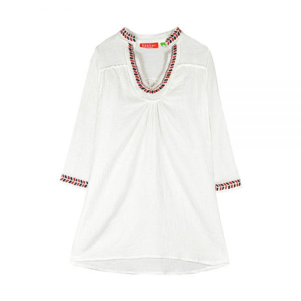 dress short embroidery natural