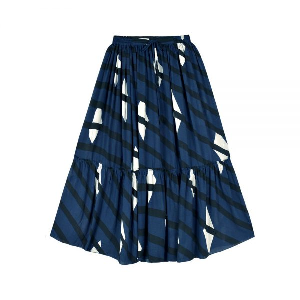 skirt long bleu noir